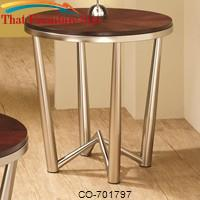 Occasional Group Round End Table with Brushed Nickel Base by Coaster Furniture