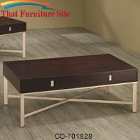 Occasional Group Storage Coffee Table with Brushed Nickel Base. by Coaster Furniture