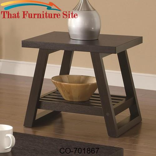 Occasional Group Casual End Table with Slatted Bottom Shelf by Coaster