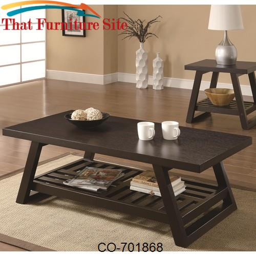 Occasional Group Casual Coffee Table with Slatted Bottom Shelf by Coas