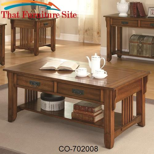 Occasional Group 2 Drawer Coffee Table with Shelf by Coaster Furniture