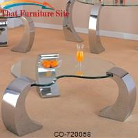 Custer Contemporary Cocktail Table with Metal Base and Kidney Glass Top by Coaster Furniture
