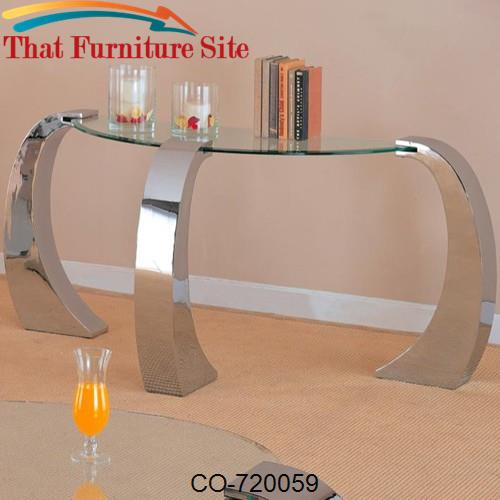 Custer Contemporary Sofa Table with Metal Base and Curved Glass Top by