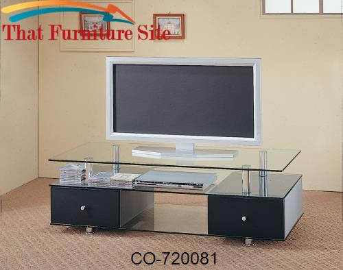 TV Stands Contemporary Glass Media Console with Drawers by Coaster Fur