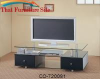 TV Stands Contemporary Glass Media Console with Drawers by Coaster Furniture
