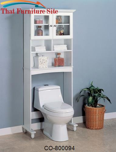 Accent Racks 2 Door White Bathroom Rack with Shelves by Coaster Furnit