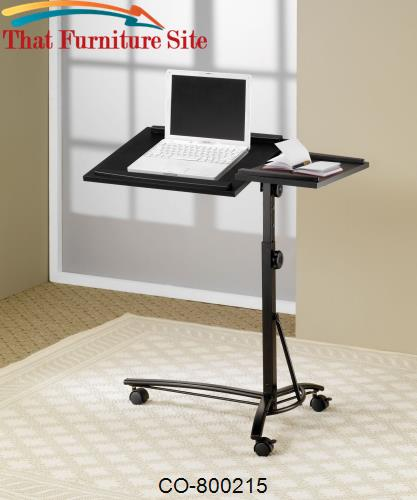 Desks Laptop Computer Stand with Adjustable Swivel Top and Casters by