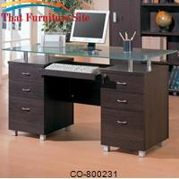 Decarie Glass Top Contemporary Double Pedestal Desk by Coaster Furniture