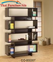 Bookcases Contemporary Cappuccino Finish Open Bookcase by Coaster Furniture