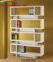 Bookcases Contemporary White Finish Open Bookcase by Coaster Furniture