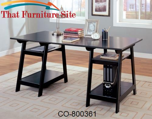 Desks Casual Double Pedestal Desk with Open Shelves by Coaster Furnitu