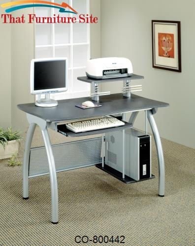Desks Contemporary Computer Desk with Keyboard Tray and Computer Stora
