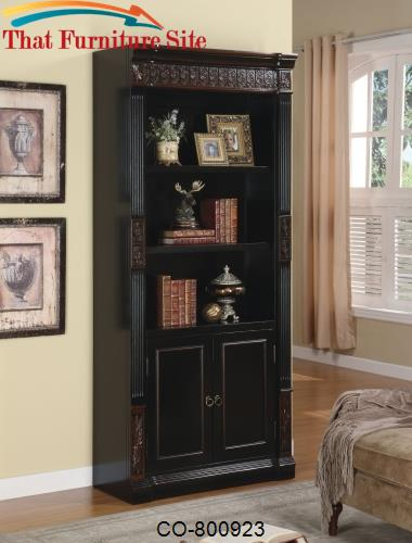 Nicolas Traditional Slim Bookcase with Carvings and Enclosed Storage C