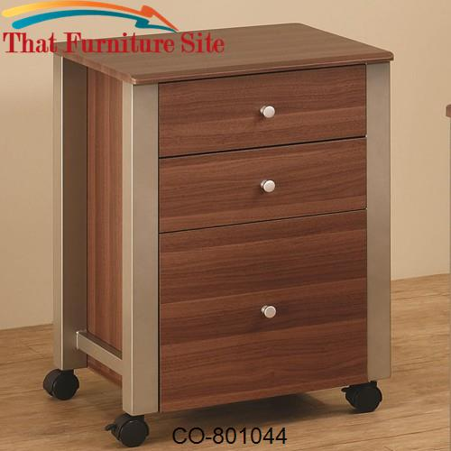 Carmen Mobile File Cart with 3 Drawers by Coaster Furniture  | Austin