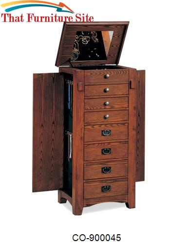 Jewelry Armoires Oak Mission Jewelry Armoire by Coaster Furniture  | A