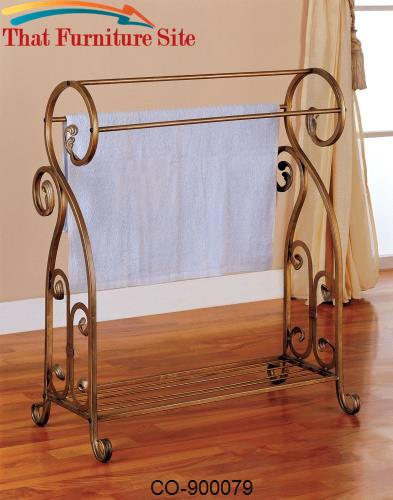 Accent Racks Antique Gold Metal Towel Rack by Coaster Furniture  | Aus