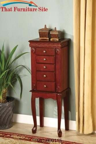 Jewelry Armoires Jewelry Armoire with Fluted Detail by Coaster Furnitu