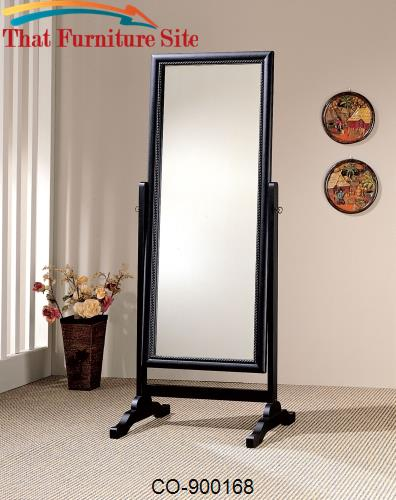 Accent Mirrors Black Rectangular Cheval Mirror by Coaster Furniture  |