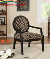 Accent Seating Louis Style Animal Print Accent Chair with Exposed Wood Arms by Coaster Furniture