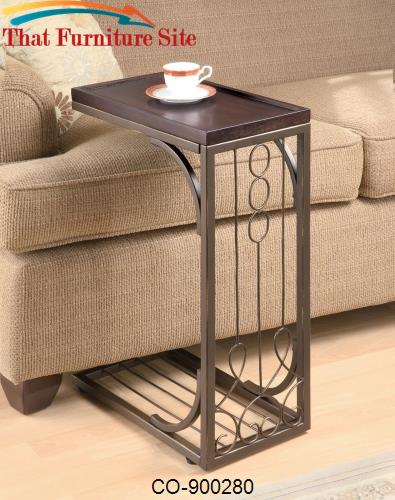 Accent Tables Small Brown Snack Table With Burnished Cooper Base By Co - Cooper end table