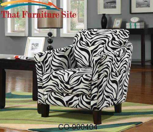 Accent  Chair and Zebra Pattern with Cappuccino Hardwood Legs by Coast