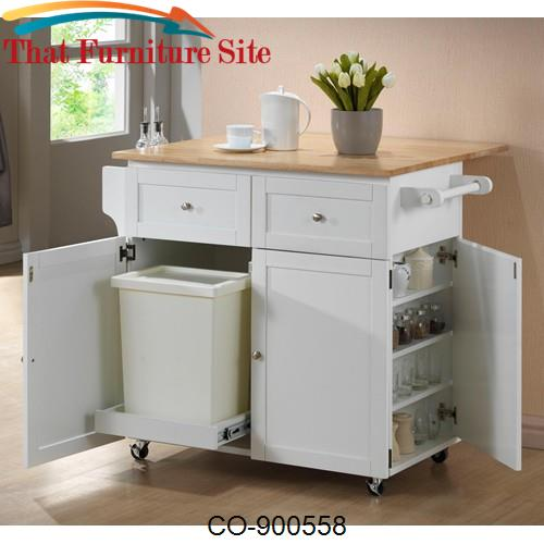 Kitchen Carts Kitchen Cart w/ Leaf, Trash Compartment, & Spice Rack by