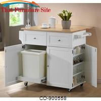 Kitchen Carts Kitchen Cart w/ Leaf, Trash Compartment, & Spice Rack by Coaster Furniture