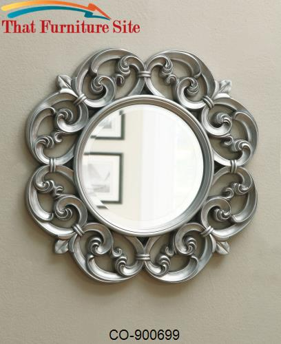 Accent Mirrors Ornate Round Mirror by Coaster Furniture  | Austin