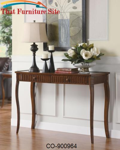 Accent Tables 2 Drawer Sofa Table with Glass Inlay Top by Coaster Furn