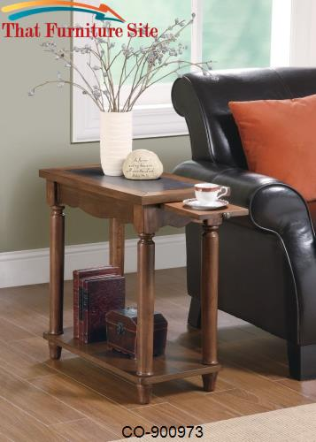 Accent Tables Warm Brown Chairside Table with Tea Tray by Coaster Furn