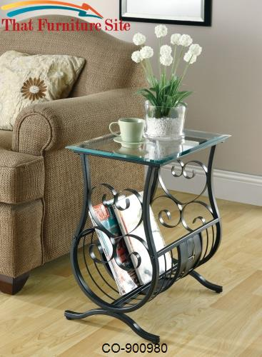 Accent Tables Glass Top Chairside Table with Magazine Rack by Coaster