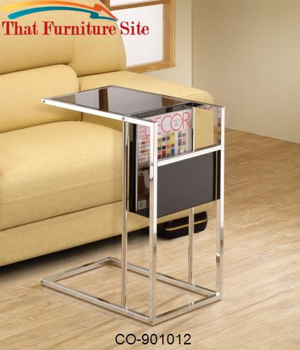 Accent Tables Black & Chrome Snack Table with Magazine Rack by Coaster