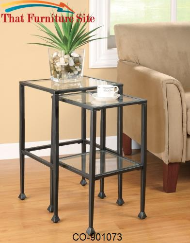 Nesting Tables 2 Piece Glass and Metal Nesting Tables by Coaster Furni