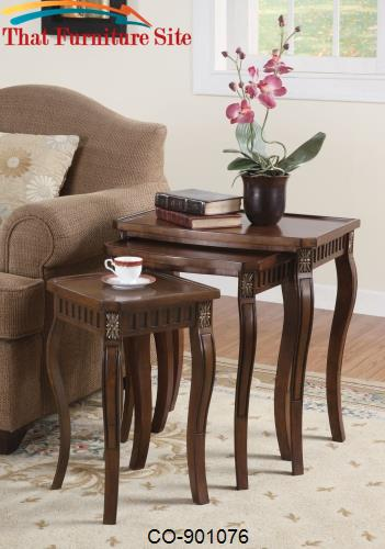 Nesting Tables 3 Piece Curved Leg Nesting Tables by Coaster Furniture