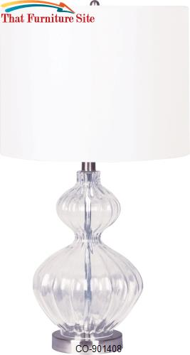 Table Lamp With a Ribbed Glass Base and White Drum Shade by Coaster Fu
