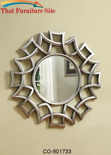 Accent Mirrors Starburst Accent Mirror in Silver Finish by Coaster Fur