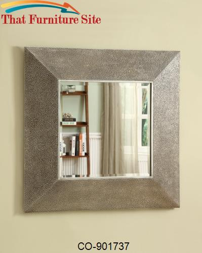 Accent Mirrors Square Droplet Frame Mirror in Silver Finish by Coaster