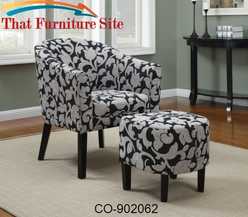 Sensational Accent Seating Barrel Back Accent Chair And Ottoman Set With White And Gray Floral Print Ncnpc Chair Design For Home Ncnpcorg