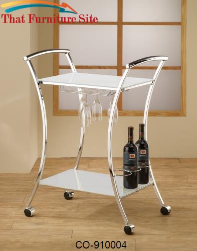 Kitchen Carts Modern Kitchen Cart with White Glass Shelves by Coaster