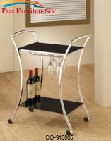 Kitchen Carts Modern Serving Cart with Black Glass Shelves by Coaster Furniture