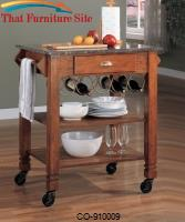 Kitchen Carts Granite Top Kitchen Cart with Wine Storage by Coaster Furniture