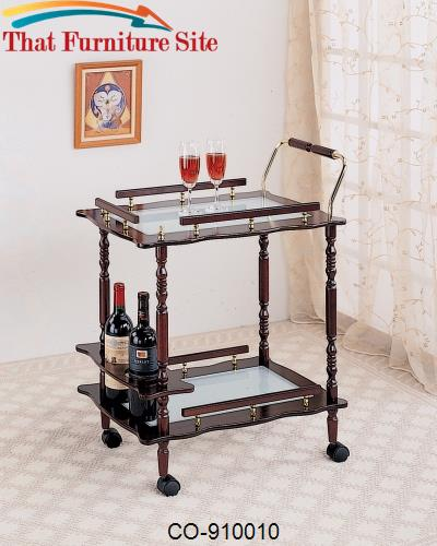Kitchen Carts Cherry Serving Cart with Frosted Glass Top & Casters by
