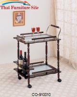 Kitchen Carts Cherry Serving Cart with Frosted Glass Top & Casters by Coaster Furniture