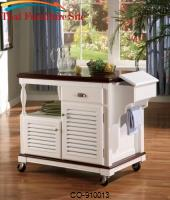 Kitchen Carts Cherry Topped Kitchen Cart by Coaster Furniture