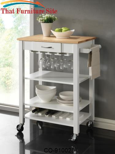 Kitchen Carts White/Natural Kitchen Cart with Butcher Block Top by Coa