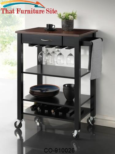 Kitchen Carts Black/Cherry Kitchen Cart with Butcher Block Top by Coas