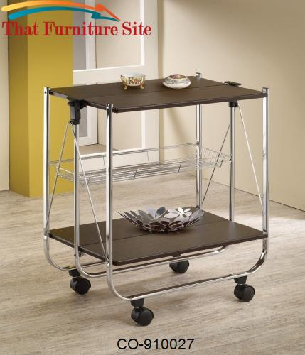 Kitchen Carts Folding Serving Cart with Casters by Coaster Furniture