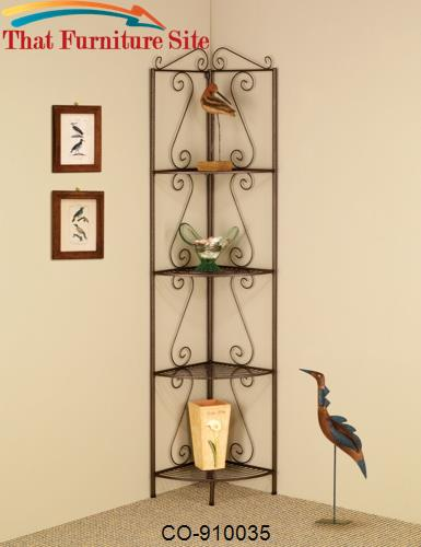 Accent Racks Copper Corner Shelf with Deecorative Scrolls by Coaster F