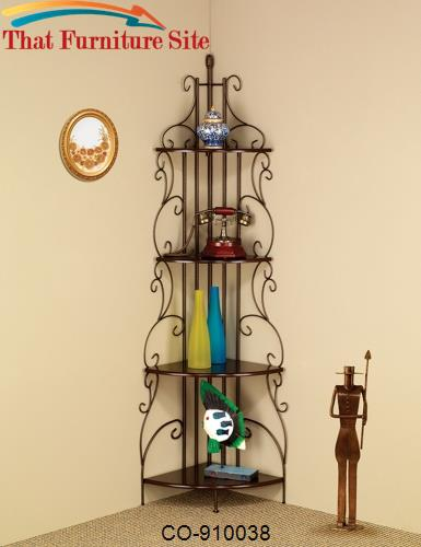 Accent Racks Copper Finished Corner Rack with 4 Shelves by Coaster Fur