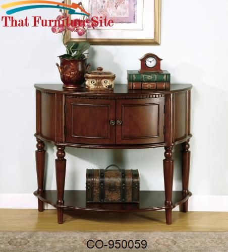 Accent Tables Brown Entry Table with Curved Front & Inlay Shelf by Coa